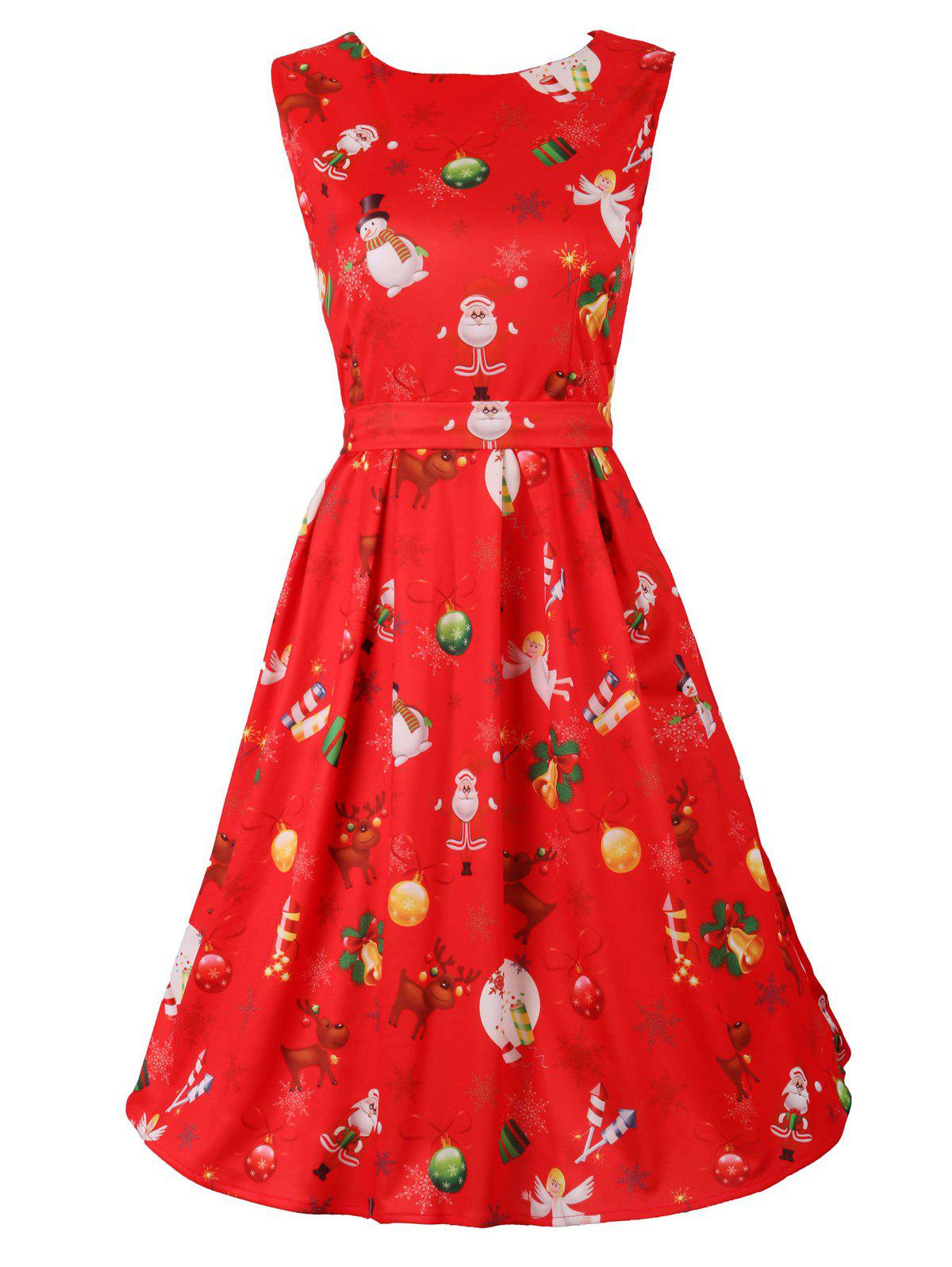 Belted Christmas Print Skater Party DressWOMEN<br><br>Size: 2XL; Color: RED; Style: Vintage; Material: Cotton Blend,Polyester; Silhouette: A-Line; Dresses Length: Knee-Length; Neckline: Scoop Neck; Sleeve Length: Sleeveless; Pattern Type: Print; With Belt: Yes; Season: Fall,Spring,Summer; Weight: 0.3700kg; Package Contents: 1 x Dress  1 x Belt;