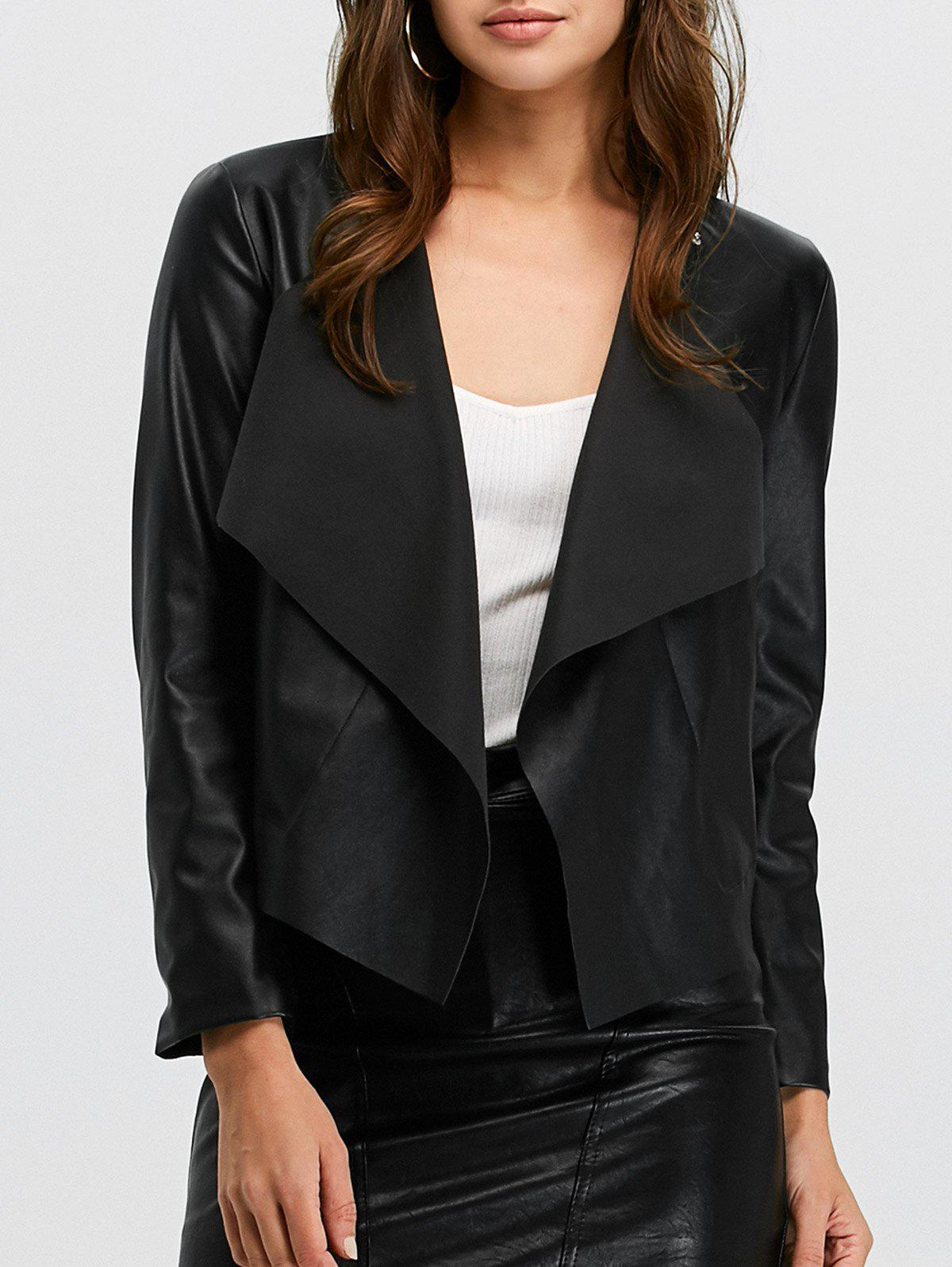 Affordable Faux Leather Open Front Jacket