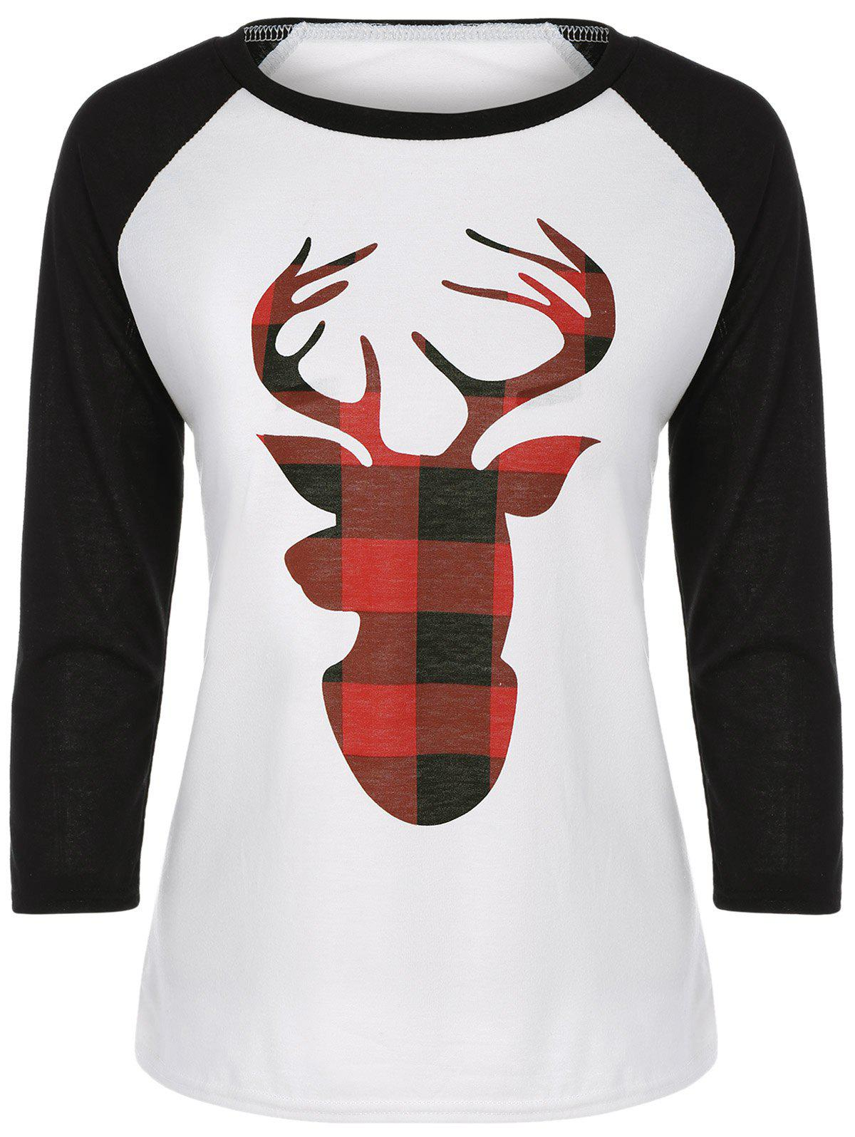 Raglan Sleeve Elk Print Christmas TeeWOMEN<br><br>Size: M; Color: WHITE; Material: Lace,Polyester; Sleeve Length: Full; Collar: Round Neck; Style: Casual; Embellishment: Pattern; Pattern Type: Character; Season: Fall,Spring; Weight: 0.200kg; Package Contents: 1 x Tee;
