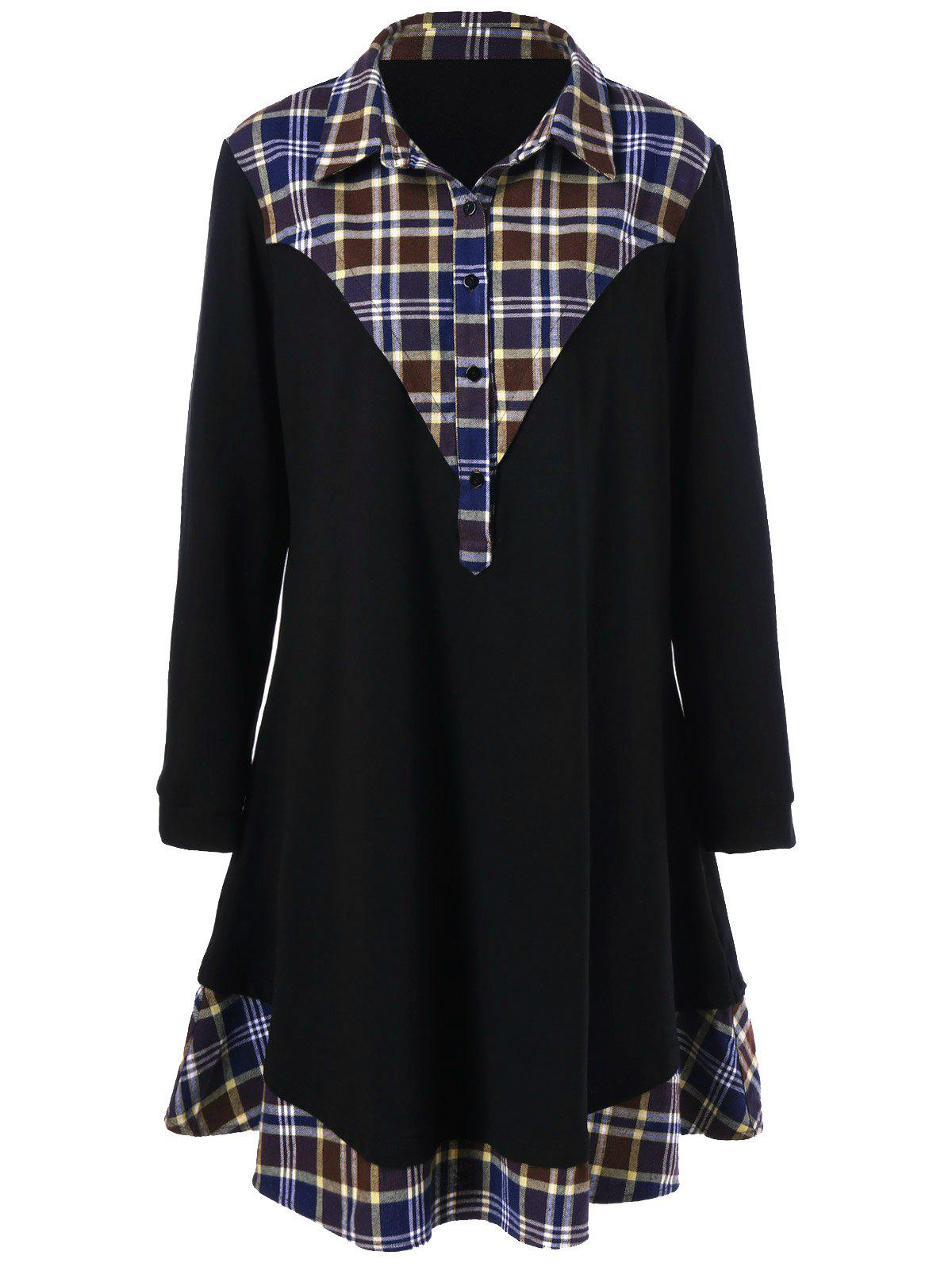 Fancy Plus Size Plaid Trim Long Sleeve Dress