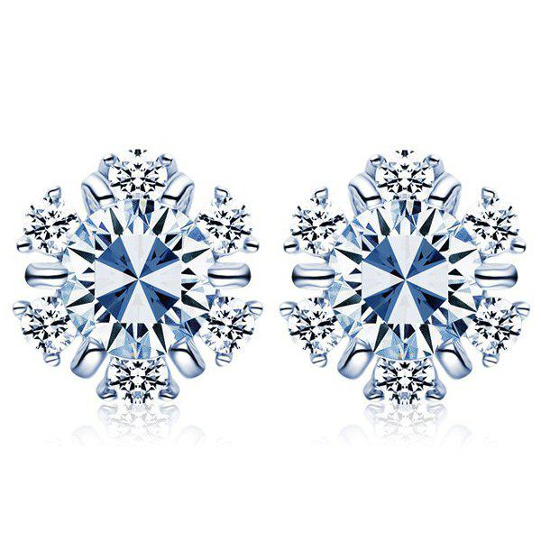 Snowflake Faux Diamond Stud EarringsJEWELRY<br><br>Color: SILVER; Earring Type: Stud Earrings; Gender: For Women; Metal Type: Alloy; Style: Trendy; Shape/Pattern: Others; Weight: 0.050kg; Package Contents: 1 x Earrings (Pair);