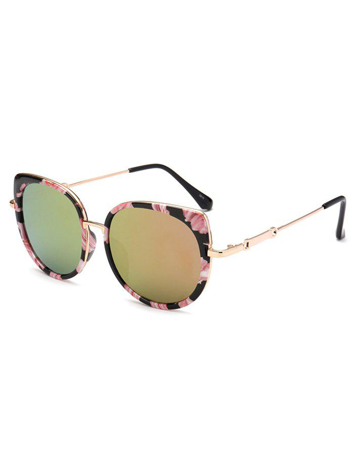 Outfits Floral Metal Cat Eye Mirrored Sunglasses