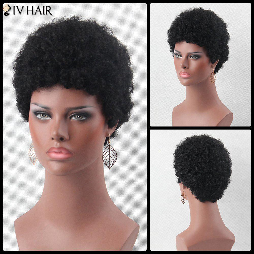 Ultrashort Fluffy Curly Real Natural Hair WigHAIR<br><br>Color: JET BLACK; Type: Full Wigs; Cap Construction: Capless; Style: Curly; Cap Size: Average; Material: Human Hair; Bang Type: None; Length: Short; Occasion: Daily; Density: 130%; Length Size(CM): 28; Weight: 0.248kg; Package Contents: 1 x Wig;