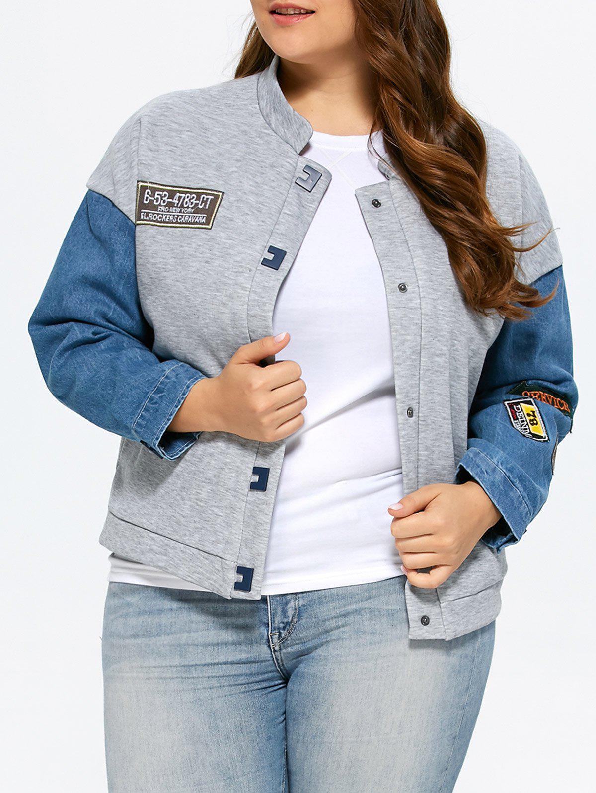 Store Plus Size Single Breasted Denim Trim Jacket
