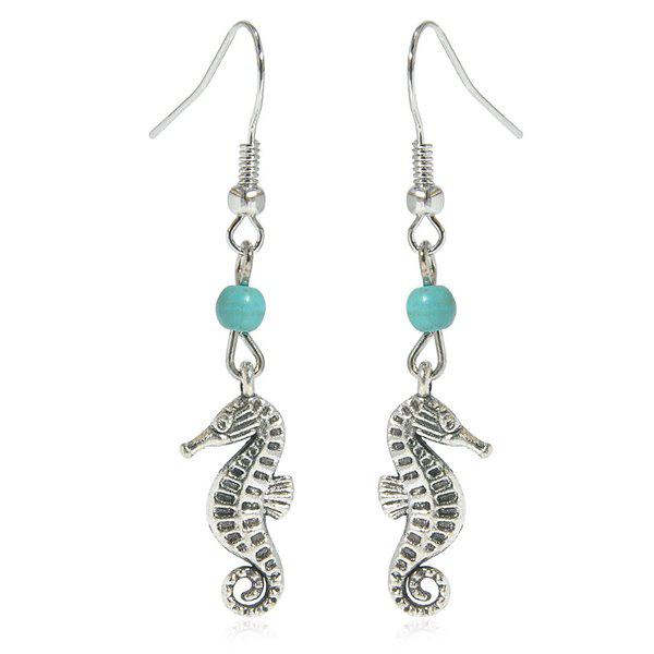 Artificial Turquoise Sea Horse EarringsJEWELRY<br><br>Color: SILVER; Earring Type: Drop Earrings; Gender: For Women; Style: Trendy; Shape/Pattern: Animal; Length: 4.9CM; Weight: 0.030kg; Package Contents: 1 x Earring (Pair);