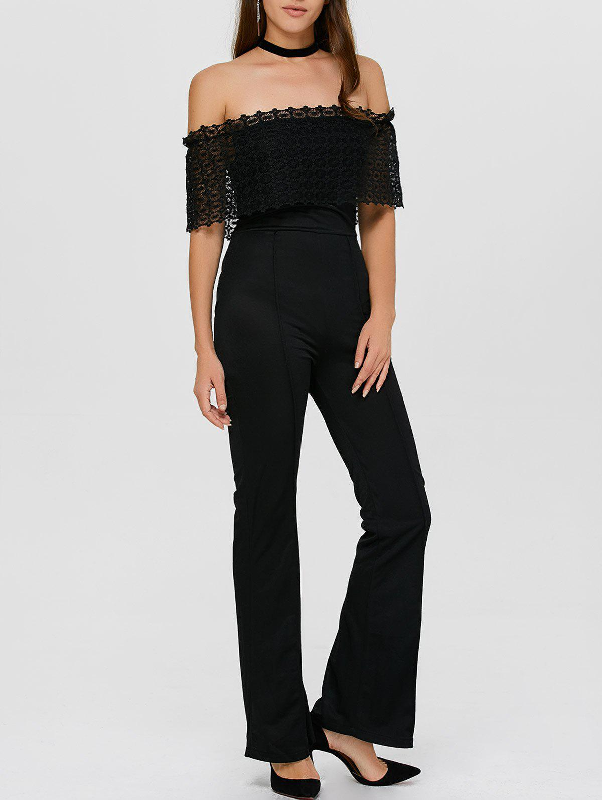 Outfits Lace Insert Off The Shoulder Bootcut Jumpsuit