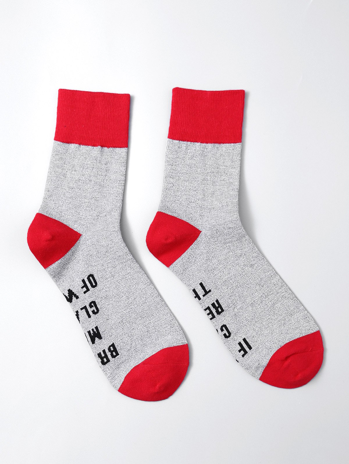 Pair of Letter Graphic Contrast SocksACCESSORIES<br><br>Color: RED; Type: Socks; Group: Adult; Gender: For Women; Style: Fashion; Pattern Type: Letter; Weight: 0.0600kg; Package Contents: 1 x Socks(Pairs);