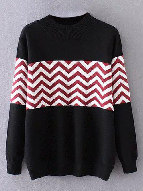 New Plus Size Pullover Wave Striped Crew Neck Sweater