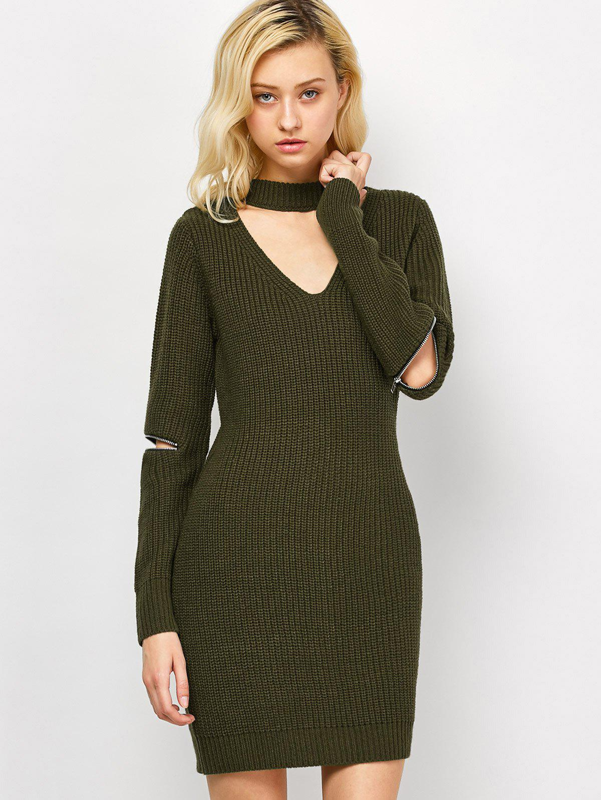 Chic Choker Neck Short Sheath Fitted Sweater Dress