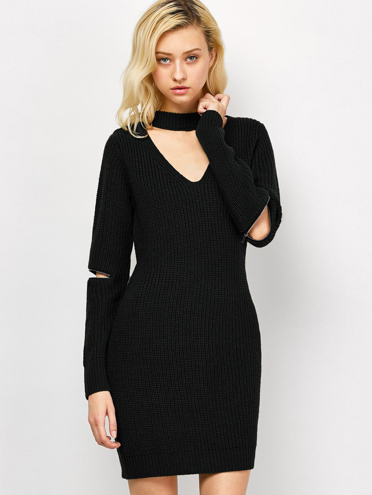 Discount Choker Neck Short Sheath Fitted Sweater Dress