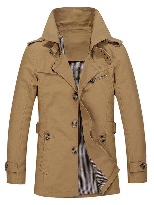 Buy Turndown Collar Single Breasted Epaulet Trench Coat