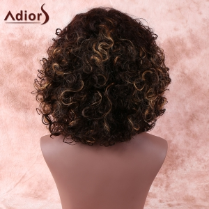 Brown Medium Side Bang Afro Curly Prevailing Women's Synthetic Hair Wig - BROWN