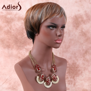 Mixed Color Fashion Short Fluffy Full Bang Adiors Synthetic Hair Wig For Women - COLORMIX
