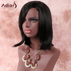 Medium Side Parting Layered Straight Dark Brown Women's Faddish Adiors Synthetic Hair Wig - BLACK BROWN