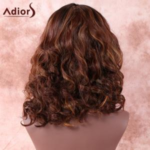 Medium Side Parting Ombre Curly Synthetic Wig - COLORMIX