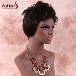 Handsome Short Side Bang Fluffy Curly Synthetic Wig - BLACK