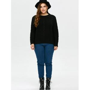 High Low Hem Cable Knit Sweater - BLACK XL