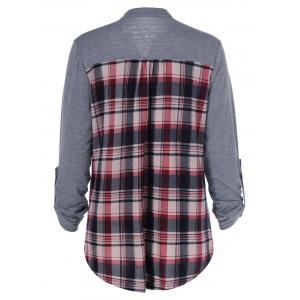Plus Size Split-Neck Plaid Trim Blouse - GRAY 5XL