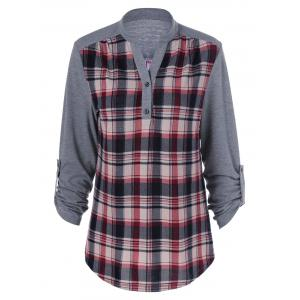 Plus Size Split-Neck Plaid Trim Blouse - Gray - 3xl