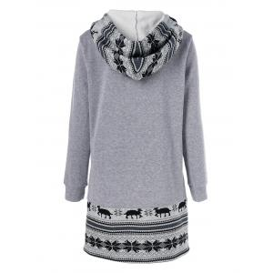Christmas Pullover Hoodie With Reindeer Patterned -
