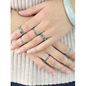 Boho Style Faux Turquoise Rings Set - SILVER