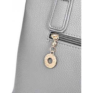 Textured Leather Dome Stud Zip Tote Bag -