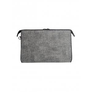 Textured Leather Twist-Lock Zipper Clutch Bag -