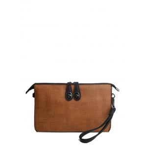 Textured Leather Twist-Lock Zipper Clutch Bag - Brown