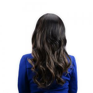 Adiors Long Oblique Bang Highlight Slightly Curled Synthetic Wig - COLORMIX