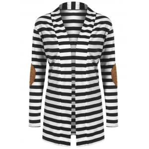 Striped Open Cardigan - Black - L