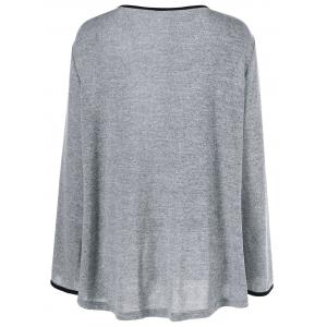 Plus Size Color Block Smock T-Shirt - BLACK AND GREY XL