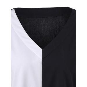 Plus Size Single Pocket Longline T-Shirt - WHITE/BLACK 5XL