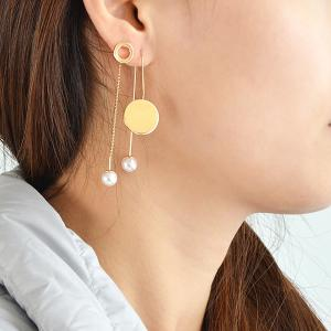 Circle Faux Pearl Dissymmetry Drop Earrings - YELLOW