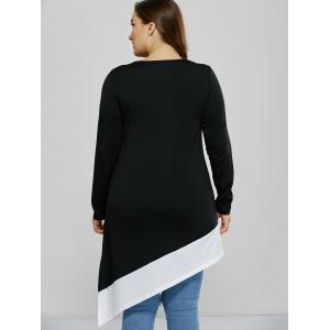 Asymmetrical Side Slit Plus Size Tee - BLACK 2XL