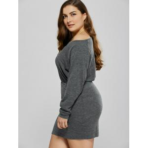 Skew Collar Knitted Mini Dress -