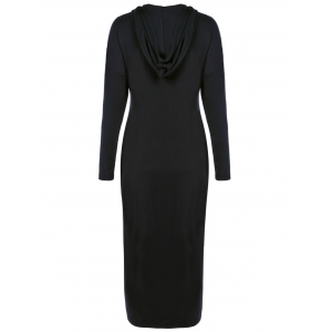 Plus Size Zip Front Bodycon Hooded Dress with Long Sleeves -