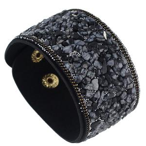 Punk Faux Leather Gravel Wide Bracelet -