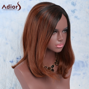 Fluffy Side Bang High Temperature Fiber Women's Wig - BLACK AND BROWN