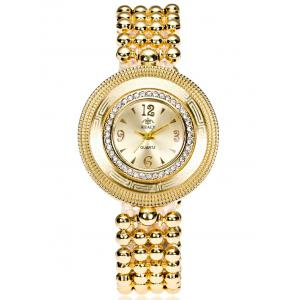 Big Dial Plate Beaded Bracelet Watch -