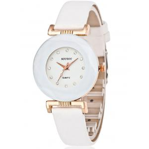 PU Leather Rhinestone Casual Watch - WHITE