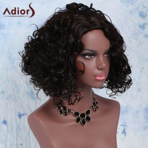 Stunning Afro Curly Synthetic Dark Brown Medium Capless Wig For Women - DEEP BROWN