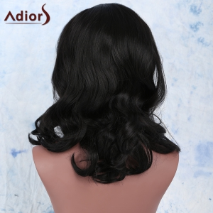 Elegant Synthetic Medium Fluffy  Wavy Black Wig For Women - BLACK