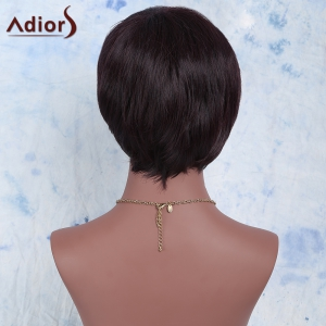 Temperament Synthetic Dark Red Short Side Bang Wig For Women -