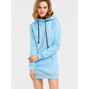 Candy Color Hooded Pullover Hoodie - LIGHT BLUE XL