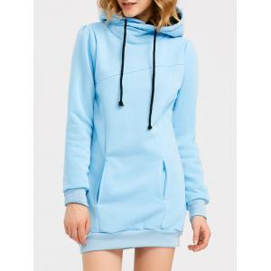 Candy Color Hooded Pullover Hoodie - Light Blue - M