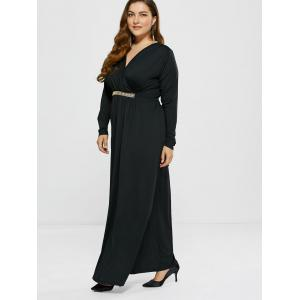 Plus Size Surplice A Line Formal Maxi Prom Dress with Sleeves - BLACK 3XL