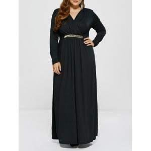 Plus Size Maxi Surplice Long Sleeve Prom Dress