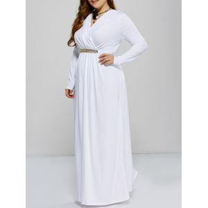 Plus Size Maxi Surplice Long Sleeve Prom Dress - White - 2xl