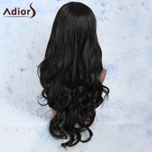 Faddish Long Wavy Black Centre Parting Women's Synthetic Wig - BLACK