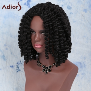 Fashion Short Dark Brown Afro Curly Women's Synthetic Hair Wig - BLACK BROWN